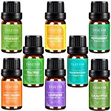 Aromatherapy Top 8 Essential Oils,TASEYAR Therapeutic Grade 100% Pure Scented Oil, Mother Day Gift Set(Frankincense,Lavender,Eucalyptus,Lemongrass,Peppermint,Sweet Orange,Tea Tree,Rosemary),10ml/Each