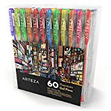 Arteza Gel Pens 60-Individual-Colors Acid-Free & Non-Toxic (0.8-1.0 mm Tips, Set of 60)