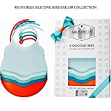 BABY SILICONE BIBS - SAILOR Collection! PACK OF 4 Silicone Baby Boy Bibs - BEST Baby Boy Shower Gifts, Bibs for Boys - 100% Food Safe Material, Tested, BPA Free, Waterproof, Dishwasher Safe, Original