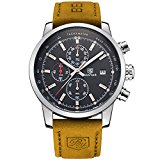 BENYAR Fashion Men's Quartz Chronograph Waterproof Watches Business Casual Sport Design Brown Leather Band Strap Wrist Watch (Silver Black)
