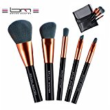 BM Beauty Makeup Brush Set:5 Piece Portable Makeup Brushes for Face and Eye Blending,Powder Cream Cosmetics Synthetic Bristles Beauty Tools BM-S16