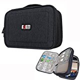 BUBM Waterproof Handbag Travel Gear Organizer / Electronics Accessories Bag / Phone Charger Case (S,Black)