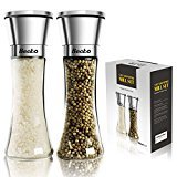 Becko Manual Salt / Pepper Mill Set / Moisture-proof Adjustable Spice Grinders with Stainless Steel and Glass Construction - 180ml X 2