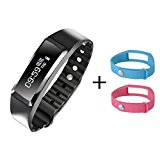 Beeasy Fitness Tracker Waterproof with Heart Rate Monitor Smart Bracelet Pedometer Exercise Walking Step Counter Wristband for iOS and Android Phone with Blue \ Pink \ Black Band