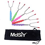 Best Marshmallow Roasting Sticks & Hot Dog Smores Forks for BBQ, Fire Pit, Bonfire. Set of 5 Multi Color Safe for Kids Extendable Skewers 34