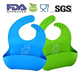 Best Silicone Baby Bibs FDA Approved Best Waterproof Soft Comfortable Dishwasher Safe With Food Catcher Pocket Snaps Bib Set of 2 Colors - 100% Food Grade Silicone, BPA Free