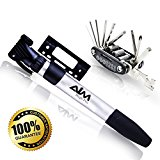 Mini pump for all bikes, High-Pressure Mini Bicycle & Frame Mount Pump. Fits Presta & Schrader Valves, MTB and Road Bike Tires BONUS:Multi-Function Repair Tool Kit. by Aim High Pro.