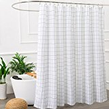 Black and White Mildew Resistant Fabric Shower Curtain for Bathroom,Washable STALL Size 72 X 72 Inch,Water-Repellent