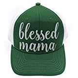 Blessed Mama Glittering Trucker Style Cap Hat Green White White