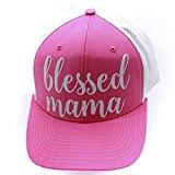 Blessed Mama Glittering Trucker Style Cap Hat Pink White White