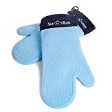 Blue Silicone Oven Mitts - 1 Pair of Extra Long Professional Heat Resistant Potholder Gloves - Heavy Duty Oven Mitt Set of 2