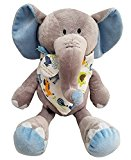 Blue and Grey Elephant Stuffed Animal Elliot the Elephant , Bibs, Burp Cloths Baby Boy Gifts