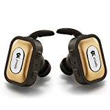 Bluetooth Earbuds with Microphone - V4.1 Stereo Technology Truly Wireless Earphones, Supports Hands-free Calling Noise Cancelling Headset. [Gold]