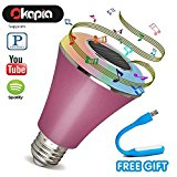 Bluetooth Speaker Light Bulb Smart Home Lighting Smartphone Controlled LED Dimmable Light Bulbs Colored LED Lights Decorative Party Lighting for iPhone and Android(pink)