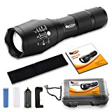 Brightest Tactical LED Flashlight - A100 High Powered Handheld Tac Light - Rechargeable 18650 Lithium Ion Battery & Charger - Zoomable Adjustable Focus 5 Modes Outdoor Torch - BONUS: Belt Holster