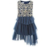 Budermmy Lace Hem Embroidery Girls Party Dresses(Gold,4 Year)