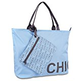 CHICMODA Fashion Tote Bag Shoulder Bag HandBag with Zipper Pouch (Light Blue)