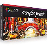 COLORE VIBRANT LIFE Acrylic Paint Set of 48 (22ML Tubes) with VibrancePro Rich Pigment Technology