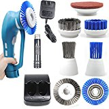 CUH Cordless Household Power Scrubber with Rechargeable Battery for Bathroom and Kitchen 1 Battery 6 Brushes 1 Scouring Pad