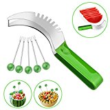 CUH Watermelon Slicer Corer Knife Cutter with Comfortable Grip and 5 Bonus Fruit Skewers