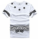 CUOKA Men's Hip Hop Clothing T Shirts Active Short Sleeve O-Neck Casual Tops Tees WHITE M
