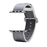 CUZOW Apple Watch Band Woven Nylon with Classic Buckle (silver-42mm)