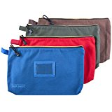 Canvas Zipper Tool Bags - 16oz Heavy Duty Water Resistant Multi-Purpose Spacious Storage Pouches - 4 Pack Organizer - Green, Red, Blue and Brown by Our Daily Life
