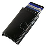 Card Blocr RFID Blocking Leather Wallet Credit Card Holder, Best Slim RFID Blocking Wallet Design (Black)