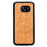 Carved Aztec Calendar Engraved Cherry Samsung Galaxy S7 Traveler Wood Case - Black Protective Bumper with Real All Wooden Cover