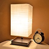 Cavogin Minimalist Romantic Solid Wood Table Lamp With Flaxen Fabric Shade Bedside Desk Lamp For Bedroom, Dresser, Living Room, Baby Room, College Dorm, Coffee Table, Bookcase