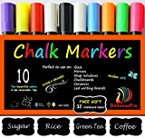 Chalk Markers DoSensePro 10 Quality Colors Including 2 White Chalkboard Markers + Free 32 Chalkboard Labels, Perfect for Restaurants, Office, Home, Art, Weddings Party Decorations, Get Yours Now!