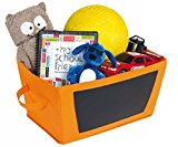 Chalkboard Storage Bin - Foldable Fabric Tote - Orange - Closet Organizer, Toy Storage, Gift Basket, Baby's Room Storage