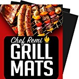 Chef Remi BBQ Grill Mat - Lifetime Replacement Warranty - Set Of 2 Heavy Duty, Non-Stick Grilling Mats - 16 x 13 Inch - Use on Gas, Charcoal, Electric Barbecues - Rated No.1 Grill Accessories
