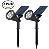 Cinoton New Generation III Outdoor Solar Spotlight,4 LED Diodes,3 Modes(OFF/Brighting/Dim Lighting),Outdoor Landscape Lighting for Patio,Deck,Garden,Driveway,Outside Wall.(2 Pack)