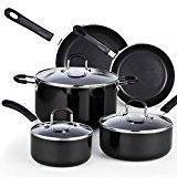 Cook N Home 02497 8 Piece Nonstick Heavy Gauge Cookware Set, Black