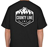 County Line Outfitters Logo Youth Short Sleeve T-Shirt (XL, Black/White)
