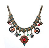 Cowgirl West Antique Vintage Bohemian Tibet Ethnic Red Blue Necklace