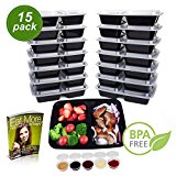 Cuisine Wonders [15 Pack] 3-Compartments BPA Free, Freezer, Microwavable, Top Level Dishwasher Safe, Reusable & Durable Meal Prep Containers (32 oz) - 5 bonus 2oz Sauce Containers - Ebook
