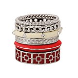 D EXCEED Gift Idea Silver Twisted Swirl Geometric Enamel Band Stackable Ring Set Size of 6 7 8 9 10