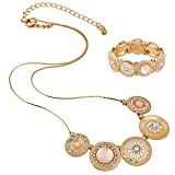 D EXCEED Handmade Etched Stretch Gold Enamel Flower Crystal Rhinestone Necklace Bracelet Set (Gold)