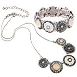 D EXCEED Handmade Etched Stretch Gold Enamel Flower Crystal Rhinestone Necklace Bracelet Set (Silver)