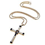 D EXCEED Jewelry Boys Crystal Enamel Stainless Steel Cross Pendant Necklace 24
