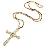 D EXCEED Jewelry Mens Crystal Stainless Steel Box Chain Cross Pendant Necklace Womens 24