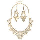 D EXCEED Jewelry Womens Vintage Lace Pattern Statement Necklace and Earrings Set (Gold)