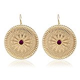 D EXCEED Large Round Etched Filigree Flower Pattern Gold Dangle Drop Earrings