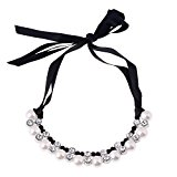 D EXCEED Women's Black Ribbon Pearl Statement Necklace Chocker Necklace