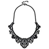 D EXCEED Vintage Statement Metal Lace Pattern Etched Filigree Crystal Necklace for Women (Necklace / Black )