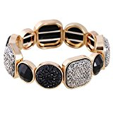 D EXCEED Women's Diamond Cluster Black and Grey Resin Stone Stretch Bangle Bracelet, 7