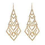 D EXCEED Women's Gold Cutout Diamond Chandelier Tiered Dangle Earrings, 3.15