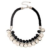 D EXCEED Women's Jet Black Crystal Faux Pearl Wrap Statement Necklace, Chocker Necklace, 18+3
